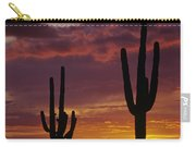 Silhouetted Saguaro Cactus Sunset At Dusk Arizona State Usa Carry-all Pouch