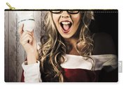 Smart Female Santa Claus With Christmas Idea Carry-all Pouch