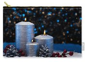 Three Silver Candles In Snow  Carry-all Pouch