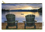 Wooden Chairs At Sunset On Beach Carry-all Pouch
