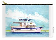 37 Foot Marine Trader 37 Trawler Yacht At Anchor Carry-all Pouch