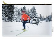 A Young Woman Cross-country Skiing Carry-all Pouch