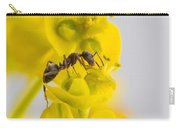 Black Garden Ant On Yellow Flower Carry-all Pouch