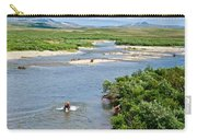 4-lay Of The Land Many Grizzly Bears In Moraine River In Katmai National Carry-all Pouch