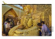 4 M Tall Sitting Buddha With Thick Layer Of Golden Leaves In Mahamuni Pagoda Mandalay Myanmar Carry-all Pouch
