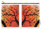 4-panel Snow On The Orange Cherry Blossom Trees Carry-all Pouch