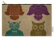4 Sophisticated Owls Colored Carry-all Pouch