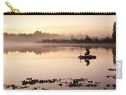 Sunrise In Fog Lake Cassidy With Fishermen In Small Fishing Boat Carry-all Pouch