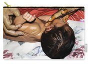 5 Day Old Indian Baby Getting A Light Massage Using Mustard Oil Carry-all Pouch