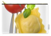 Ravioli Pasta Tomato And Basil On Fork Against White Background Carry-all Pouch