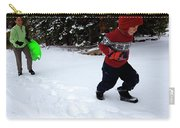 A Young Boy And Mother Sledding Carry-all Pouch