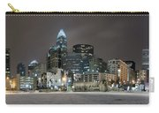 Charlotte Queen City Skyline Near Romare Bearden Park In Winter Snow Carry-all Pouch