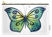 92 Teal Button Cap Butterfly Carry-all Pouch by Amy Kirkpatrick