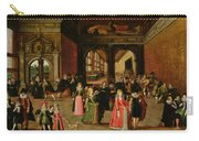 A Ball During The Reign Of Henri Iv Oil On Panel Carry-all Pouch