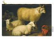 A Barn Interior With A Four-horned Ram And Four Ewes And A Goat Carry-all Pouch