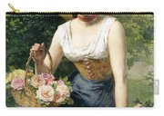 A Beauty Holding A Basket Of Roses Carry-all Pouch