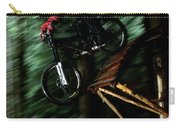 A Biker Rides His Mountain Bike Carry-all Pouch