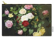 A Bouquet Of Roses In A Glass Vase By Wild Flowers On A Marble Table Carry-all Pouch