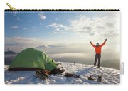 A Camper Lifts His Hand In The Air Carry-all Pouch