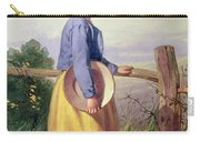 A Country Girl Standing By A Fence Carry-all Pouch