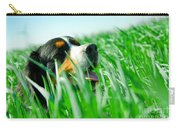 A Cute Dog In The Grass Carry-all Pouch