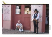 A Dog And A Re-enactor Rest In The Front Of The Bird Cage Theater Tombstone Arizona Carry-all Pouch
