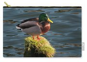 A Drake Mallard Perches On A Piling Carry-all Pouch