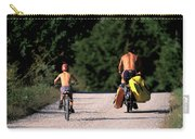 A Father And Son Ride Their Bikes To Go Carry-all Pouch