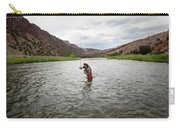 A Fly Fisherman Mends While Fishing Carry-all Pouch