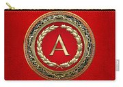 A - Gold Vintage Monogram On Red Leather Carry-all Pouch