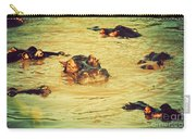 A Group Of Hippos In A River. Tanzania Carry-all Pouch