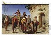 A Gypsy Family On The Road, C.1861 Oil On Canvas Carry-all Pouch