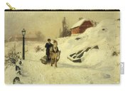 A Horse Drawn Sleigh In A Winter Landscape Carry-all Pouch by Fritz Thaulow