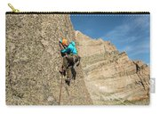 A Man Rock Climbing In Rocky Mountain Carry-all Pouch