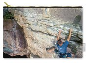 A Man Tackles An Overhanging Sandstone Carry-all Pouch