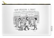 A Man Wearing A Beret Walks Down A Busy Street Carry-all Pouch by Roz Chast