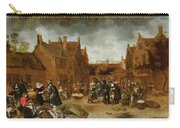 A Marketplace In Winter, 1653 Carry-all Pouch
