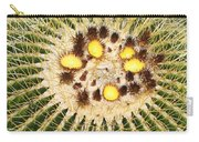 A Mexican Golden Barrel Cactus With Blossoms Carry-all Pouch