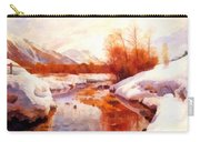 A Mountain Torrent In A Winter Landscape Carry-all Pouch