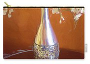 A Painting Silver Vase On Table Carry-all Pouch