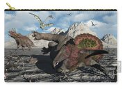 A Pair Of Triceratops Trapped Carry-all Pouch