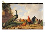 A Peacock And Chickens In A Landscape  Carry-all Pouch