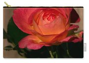 A Red Rosr Against A Weathered  Wood Background Carry-all Pouch