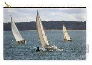 A Sailing Yacht Rounds A Buoy In A Close Sailing Race Carry-all Pouch