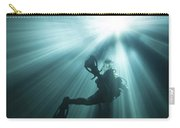 A Scuba Diver Ascends Into The Light Carry-all Pouch by Michael Wood