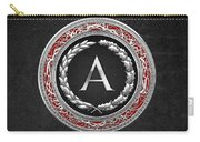 A - Silver Vintage Monogram On Black Leather Carry-all Pouch