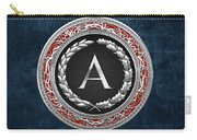 A - Silver Vintage Monogram On Blue Leather Carry-all Pouch