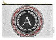 A - Silver Vintage Monogram On White Leather Carry-all Pouch