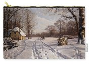 A Sleigh Ride Through A Winter Landscape Carry-all Pouch by Peder Monsted