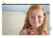 A Smiling Young Girl Enjoys A Sunny Carry-all Pouch